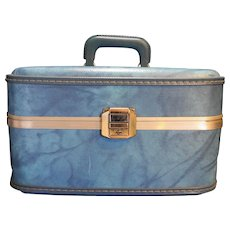 Blue Marbled Vinyl Train Case Hardside Vintage Suitcase Luggage
