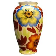 Hand Painted Japan Floral Vase Blue Rust Green 5 IN