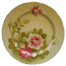 Lefton Heritage Green Pink Roses Luncheon Plate