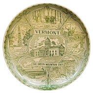 Vermont Souvenir Plate Green Transferware