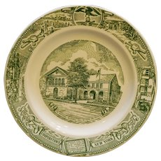 Cooperstown New York Baseball Hall of Fame Souvenir Plate Green Transferware