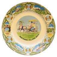 Mackinac Island Michigan Souvenir Plate Multicolor