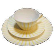 Monika Yellow Stripe Trio Cup Saucer Plate Seltmann Weiden