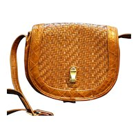 Brio Woven Brown Leather Purse Shoulder Bag