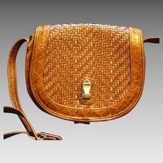 Brio Woven Brown Leather Purse Shoulder Bag