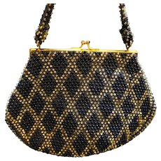 Lumured Corde Bead Navy Blue Clear Diamond Pattern Handbag Purse