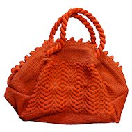 Red Fabric Woven Handmade Purse Vintage 1940s