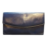 Buxton Top Grain Cowhide Navy Blue Long Wallet With Calculator