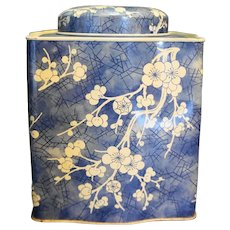 Daher Blue White Cherry Blossoms Tea Canister Tin