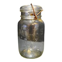 Atlas E-Z Seal Quart Clear Glass Canning Jar Wire Bale Glass Lid