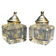 Cut Glass Lead Crystal Square Inkwells Pair Sterling Cap Lids