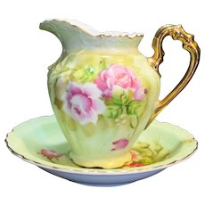 Lefton Heritage Green Pink Roses 16 Oz Jug Pitcher Bowl 4172 Set