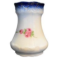 Flow Blue Rim Pink Roses Decal Porcelain Vase