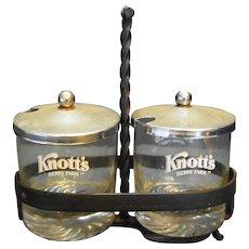 Knott's Berry Farm Jelly Jam Jar Condiment Server Set