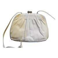 Etra Cream Bone Leather Small Purse Skinny Shoulder Strap