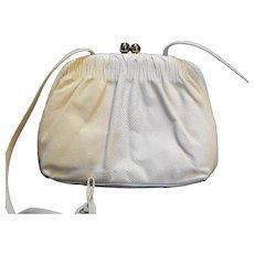 Etra Cream Bone Leather Small Purse Skinny Shoulder Strap