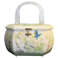 Wooden Chest Purse Decoupaged Flowers Mother Of Pearl Lucite Handle
