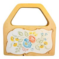 Wooden Hand Painted Purse Floral