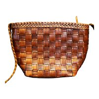 Franco Sarto Brown Woven Leather Shoulder Bag Purse