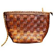 Franco Sarto Brown Woven Leather Shoulder Bag Purse