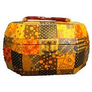 1970s Patchwork Calico Covered Wooden Chest Box Purse Lucite Handle