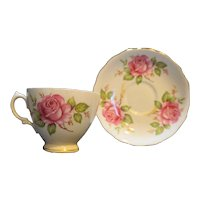 Royal Vale Bone China Cup & Saucer Pink Roses England