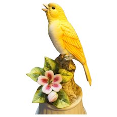 Andrea by Sadek Yellow Canary Bird Porcelain Figurine Music Box