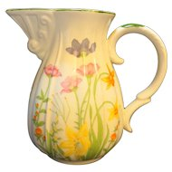 Mann Day Lily 16 Oz Pitcher Flowers Porcelain