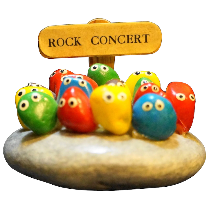 Rock Concert Pet Rock 1980s Primary Colors Hand Painted Taiwan