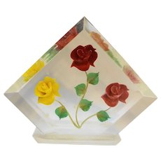 Carved Roses Yellow Red Pink Lucite Napkin Holder