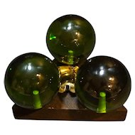 Avocado Green Lucite Ball Candle Holder