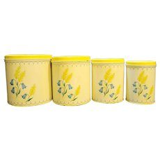 Yellow Wheat Blue Flowers Enamel Metal Kitchen Canister Set