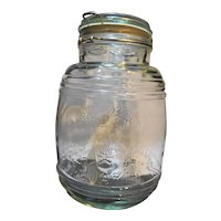 Cracker Barrel Style Glass Canister Jar Cookies Flour Sugar 1 1/2 Qt