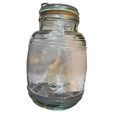 Cracker Barrel Style Glass Canister Jar Cookies Flour Sugar 1 1/2 Qt