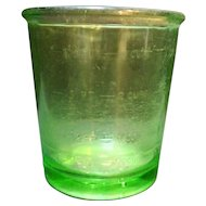 D&B Green Depression Glass Egg Beater Jar Only 4 Cup Measure