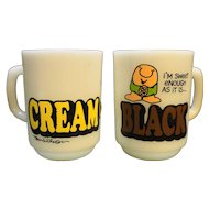 Anchor Hocking Ziggy Coffee Mugs Cream Sugar Black White Milk Glass