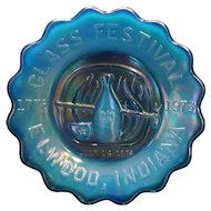 St Clair Art Glass Blue Carnival Glass Festival Elwood Indiana Small Plate 1976