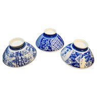 Blue Hand Painted Rice Bowls Porcelain Set of 3