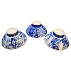 Blue Hand Painted Rice Bowls Porcelain Set of 3