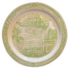 Vernon Kilns Green Transferware Southside High School Ft Wayne Souvenir Plate