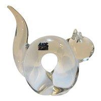 ACC Taiwan Art Glass Clear Cat Figurine Paperweight