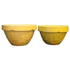 McCoy Yellow Ware Girl With Watering Can Mixing Bowls Pair Yellow Beige Small