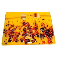 Fused Glass Decorative Trivet Plaque Tile Yellow Red Orange Flowers