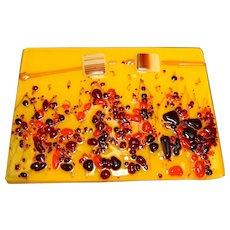 Fused Glass Decorative Trivet Plaque Tile Yellow Red Orange Flowers