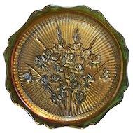 Jeannette Glass Marigold Iridescent Iris & Herringbone Sandwich Plate 12 IN