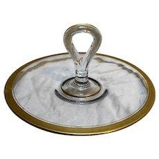 Depression Glass Center Handle Sandwich Tidbit Tray Gold Floral Encrusted Rim