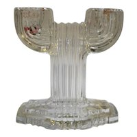 Queen Mary Prismatic Depression Glass Hocking Clear Double Light Candle