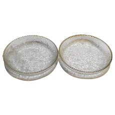 Jeannette Depression Glass Harp Gold Trim Coasters Pair