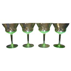 Apple Depression Green Optic Ribbed Stems Set of 4