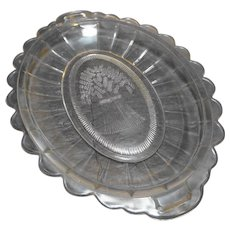 Sheaf of Wheat Early American Pattern Glass Bread Tray Oval Scalloped